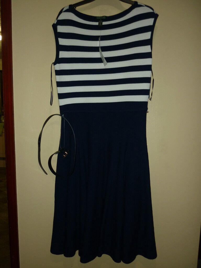Ralph Lauren bluee cap sleeve belted dress Medium - RRP  Brand New
