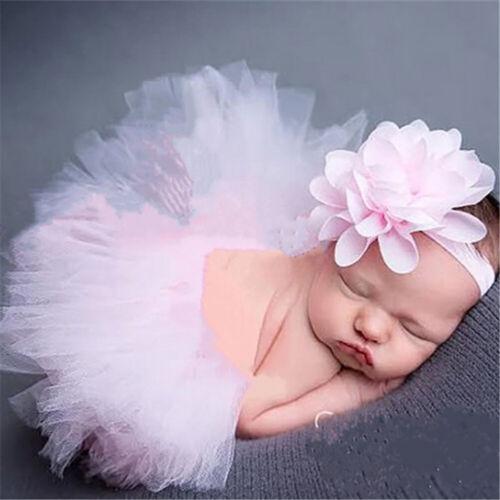 Newborn Baby Girl Headband+Yarn Tutu Skirt Costume Photo Photography Prop Co FT