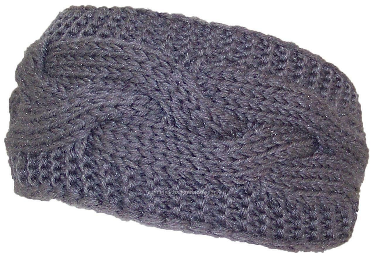 3685eb1bf Best Winter Hats Solid Color Cable & Garter Stitch Knit Headband #447 Gray