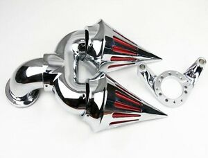 Black Double Triangle SPIKE AIR CLEANER FOR HARLEY CV CARB DELPHI V-TWIN