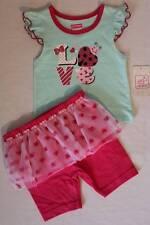 NEW Baby Girls 2pc Set 18 Months T-Shirt Shorts Tutu Outfit Love Ladybug Glitter