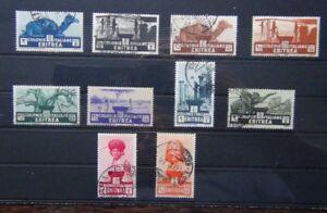 Eritrea-1933-set-to-10L-Used-SG199-SG208