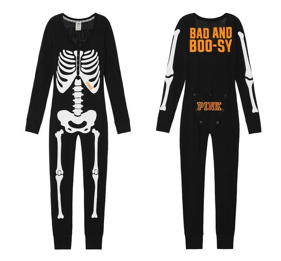 Victoria Secret PINK Halloween Skeleton One Piece Long Jane Jumpsuit Pajamas S