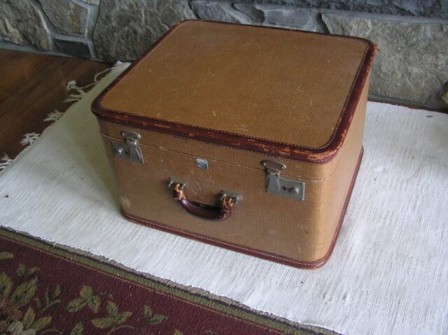 "Vtg Tweed Balkan Aero-Light Shoe Suitcase Train Case 18 1/2"" x 16 1/2"" x 11"" USA"