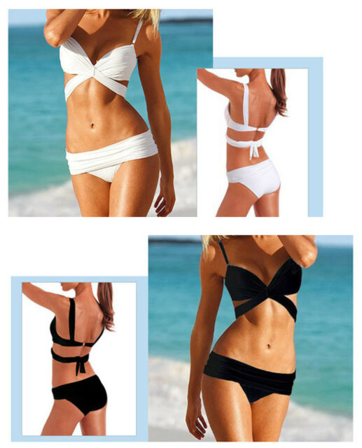 Sexy Women Bikini Set Bandage Swimwear Push-up Padded Bra Top Bottom Beach suit
