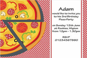 Image Is Loading 10 Personalised Kids Sleepover Pizza Birthday Party Invitations