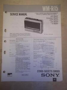 Details about Sony Service Manual~WM-R15 Walkman  Cassette-Corder~Original~Repair