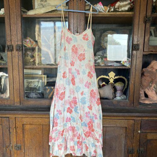Antique 1930s Pink Blu Floral Print Sleeveless Dre