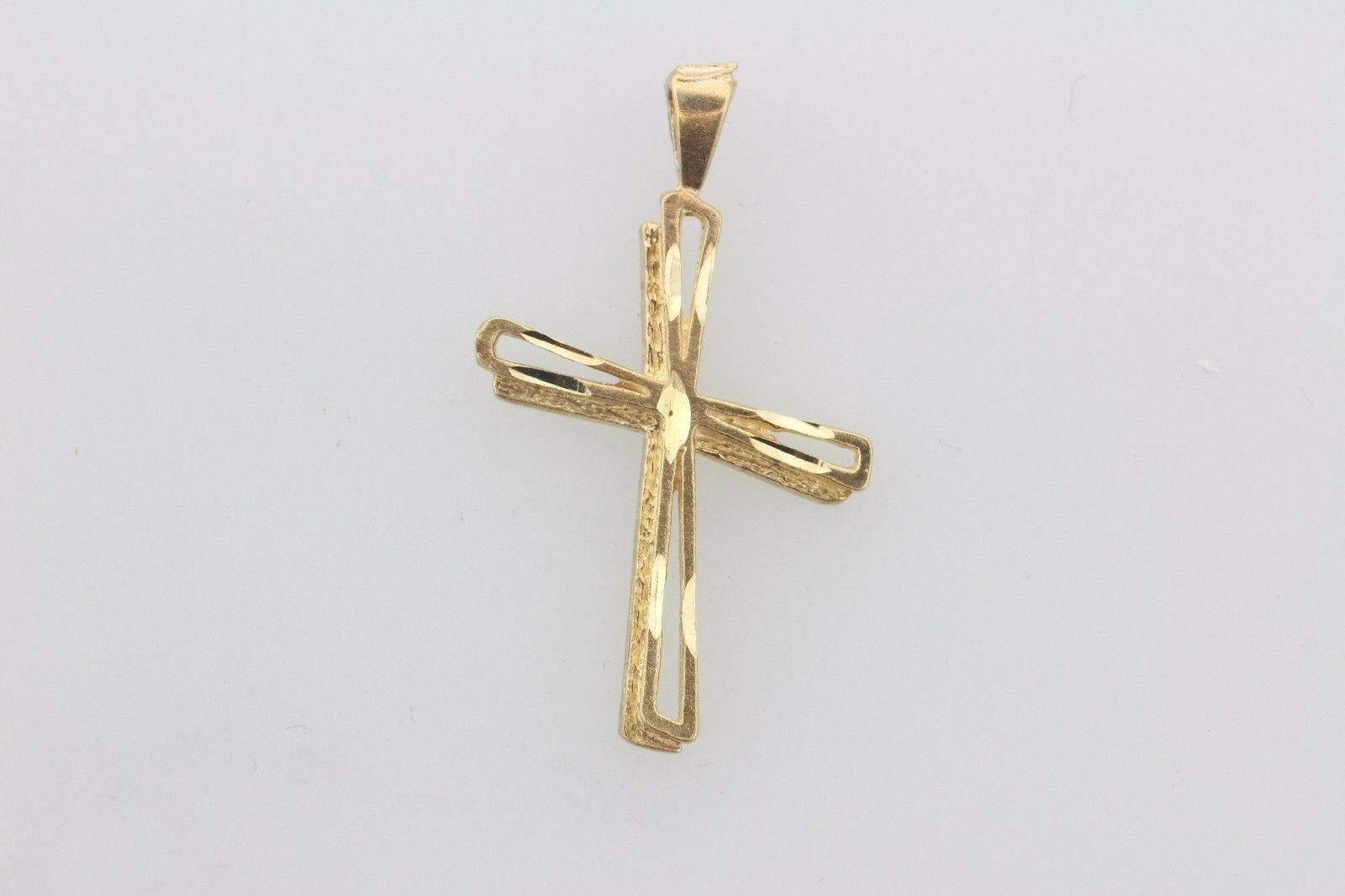 14K Yellow gold Slanted Layered Double Cross Charm Pendant
