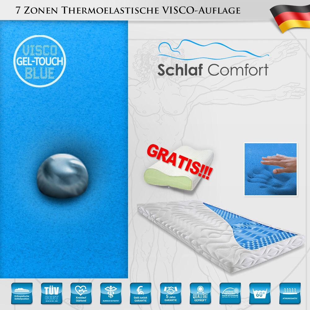 Gelschaum GEL-TOUCH-Blau® Matratzenauflage 7 Zonen Topper 90x200x9cm +1 Kissen