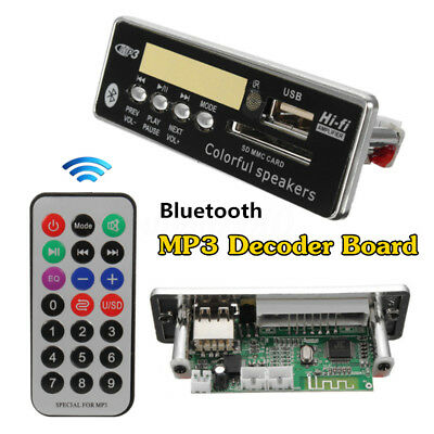 12V Car Bluetooth Wireless MP3 Wma Decoder Board Audio Module USB SD TF FM Radio