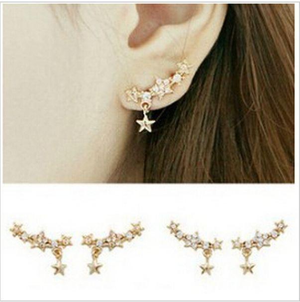New Women Lady Girls Elegant Crystal Rhinestone Ear Stud Earrings Jewelry Gift