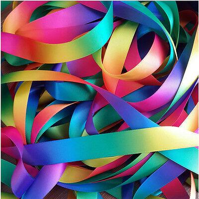 3m/10m/20 meters Single/Double Sided Rainbow Pastel Satin&Grosgrain Ribbon Decor