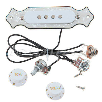prewired 4 string soundhole active pickup wiring harness for cigar box guitar 634458592284 ebay. Black Bedroom Furniture Sets. Home Design Ideas