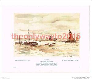 Brixham-Harbour-Devon-Adrian-Hill-Book-Illustration-Print-c1939