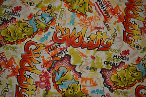 Graffiti-Curtain-Fabric-By-The-Metre-Boys-Kids-Teenager-Bright-Blinds-Bedspreads