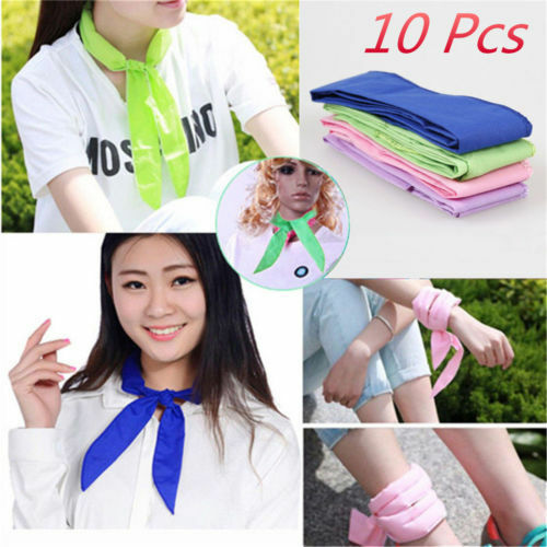 10x Handy Neck Cooler Non-toxic Personal Scarf Body Ice Cool Cooling Wrap IW