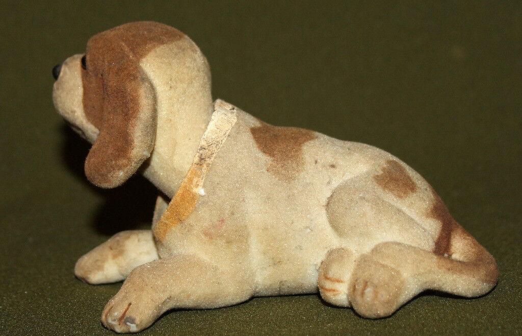 Estatuilla de perro de juguete de cabeza de agitación Vintage con cubierta de felpa