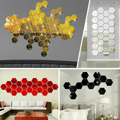 Fashion 3d Mirror Hexagon Acrylic Wall Sticker Art Decal ...