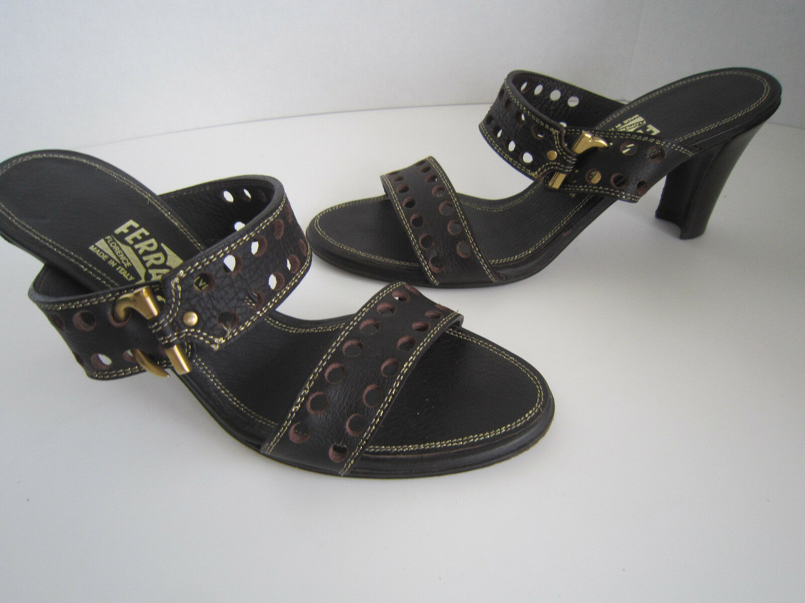 Salvatore Ferragamo  Slide Mules Sandals  Brown Leather Perforated Sz 81 2 AA