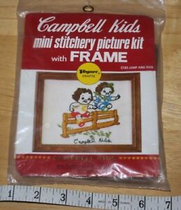 Campbell Kids Mini Stitchery    Crafts    picture  Kit    with  Frame