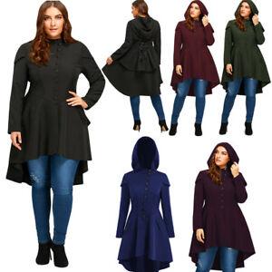 Women Plus Size Lace Up Peplum Corset Long Hooded Coat Jacket High ... 6602bbbb1