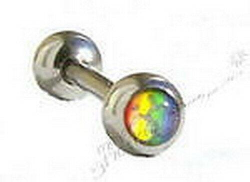 Logotipo de Orgullo Gay Lengua Barbell Barra Macho 6mm Arco Iris