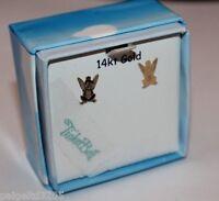 Disney Fairies 14kt Tinkerbell 14k Solid Yellow Gold Stud Earrings