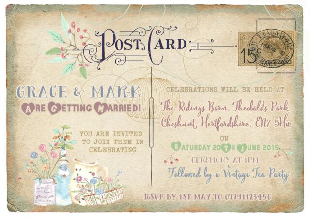 PERSONALISED VINTAGE POSTCARD TEA PARTY/ BIRDCAGE WEDDING INVITATIONS PACKS OF10