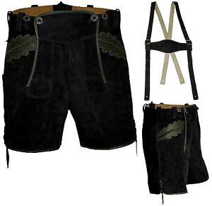 Trachtenlederhose Eicherlaub Black pelle corti in Pantaloni Mir qBT6C1