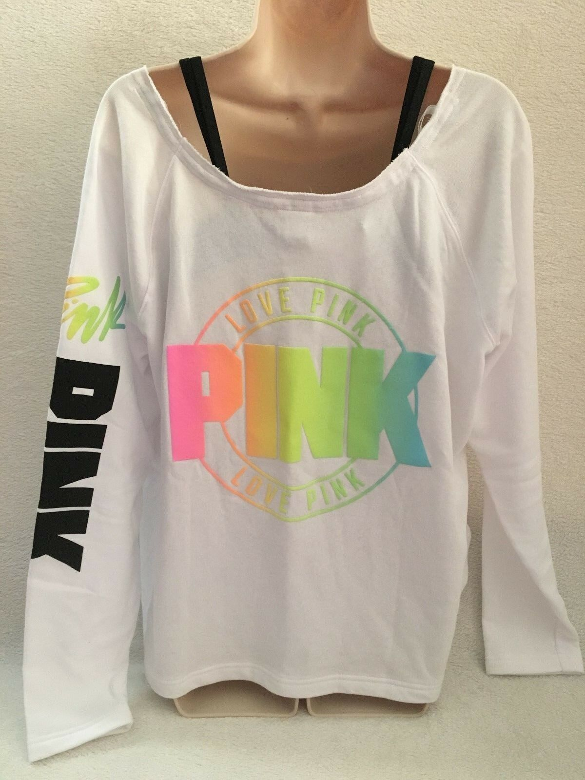 VICTORIA'S SECRET PINK SLOUCHY CREW LONG SLEEVE WHITE MULTI MED