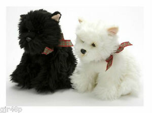 "Soft Sensations West Highland Terrier Quality 10"" Inch Soft Toy Tartan Ribbon"