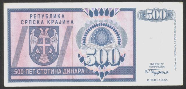 Serbian Krajina-Knin (Croatia), 500 Dinara 1992. P-R4, XF