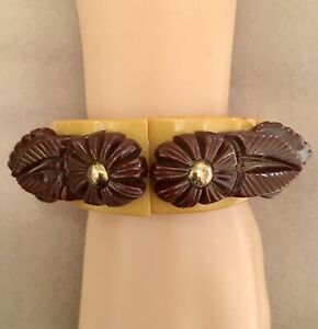 Unique-Carved-Brown-amp-Butterscotch-Chunky-Clamper-Hinged-Bakelite-Bracelet