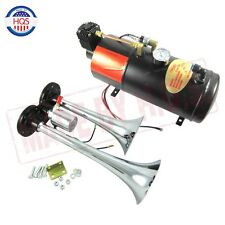 Dual 2 Trumpet Chrome Train Air Horn Kit ,w/ 150 PSI 3 Liter 12V Air Compressor