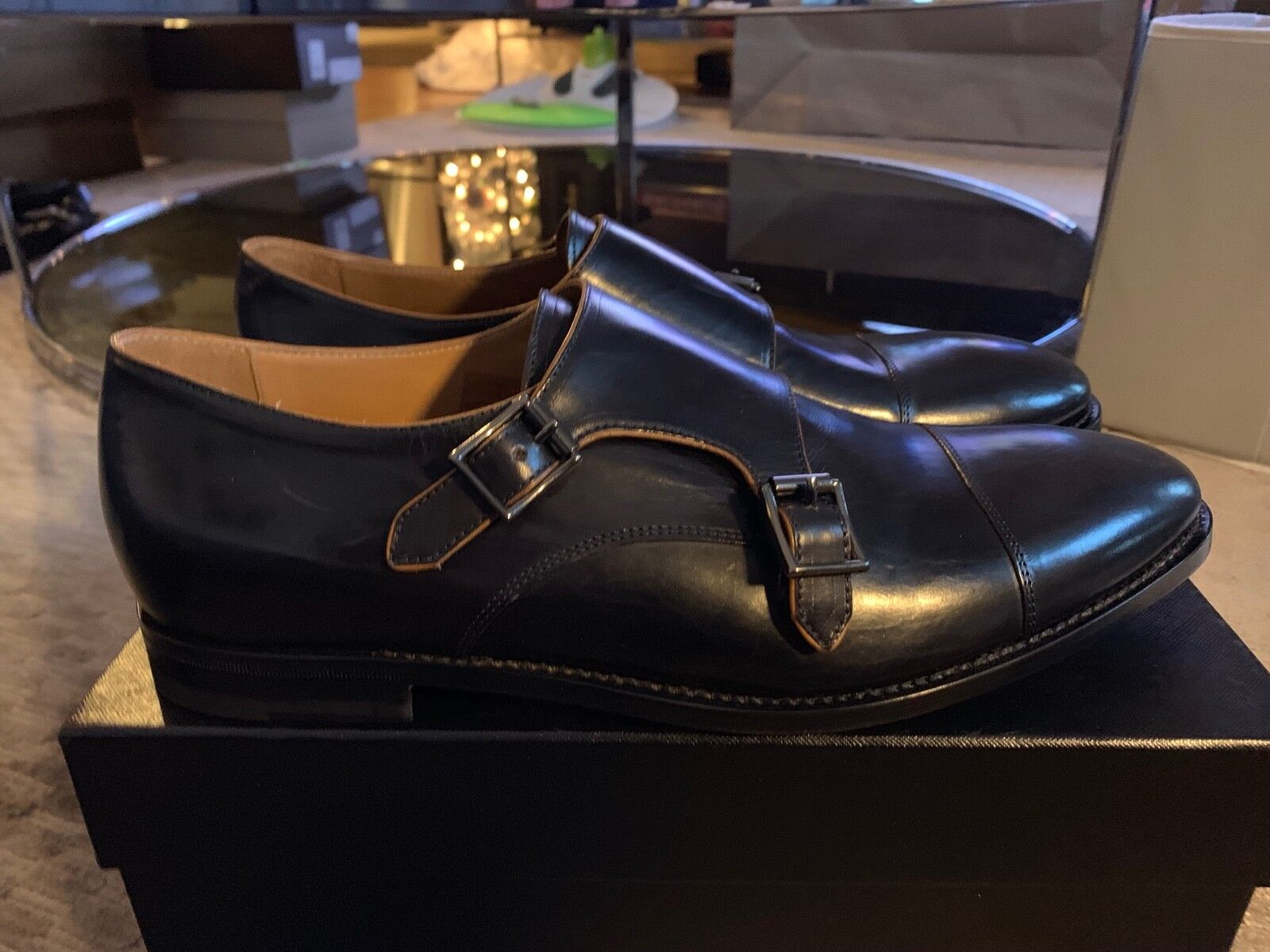 PAUL SMITH DOUBLE Monk Strap Cap Toe Chaussures en cuir détail  805 New in Box Noir
