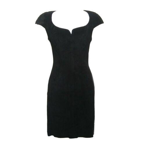 Vintage 1980s Firenze Black Suede Body Con Mini Co