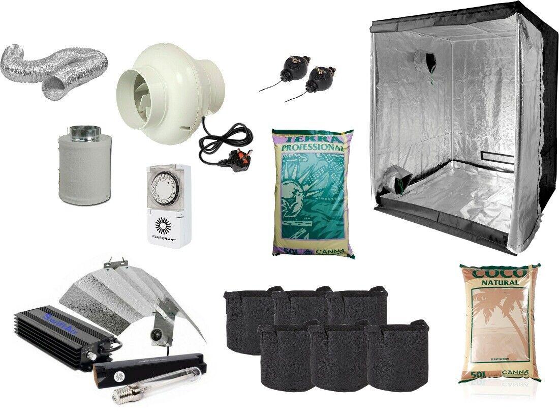 1.2x1.2m Kit Completo Luz Digital 600w Filtro De Ventilador Cochepa Habitación Crecer Hydroponics