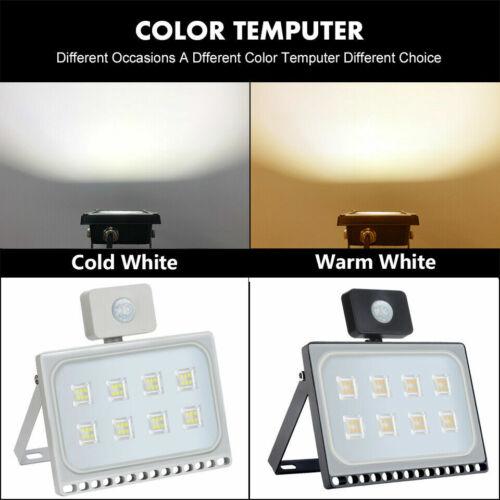 LED Floodlight 10//20//30//50//100W PIR Sensor Motion Security Flood Light Cool Warm