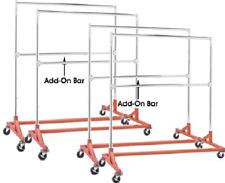Commercial Grade Double Bar Rolling Z Rack With Nesting Orange Base Set Of 4