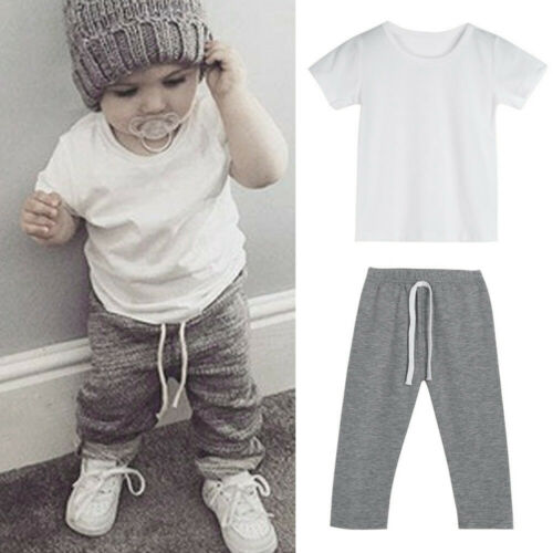Child Infant Kids Baby Boy Outfit Clothes Short Sleeve T-shirt Tops+Pants Set US