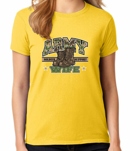 1481C Camo Army WIFE Boots Ladies T-shirt Soldier Support Women/'s Tee