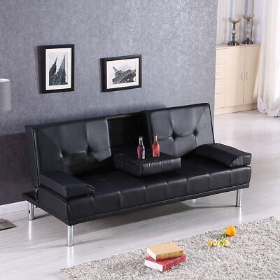 Fold Up Down Recliner Sofa Bed Couch With Cup Holders