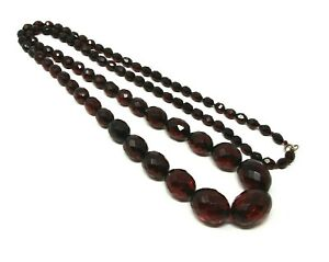 LONG-Vintage-Cherry-Amber-BAKELITE-Faceted-Bead-Necklace-48-INCHES-Art-Deco