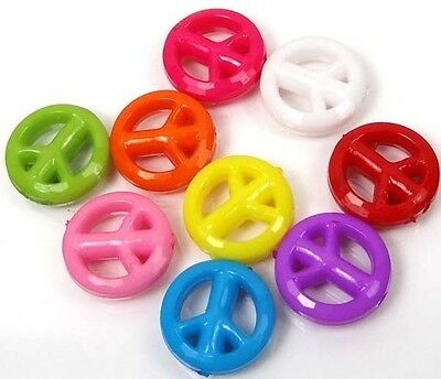50 Mixed Color Peace Sign Acrylic Beads spacer 15mm