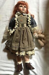 """Large 27"""" Porcelain Doll w/Teddy-Stand Included-EUC"""