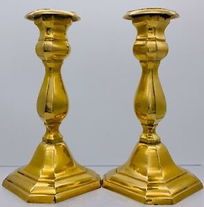 Antique-VTG-Solid-Brass-Candle-Holders-Home-Decor-Candlesticks-7-034-Tall