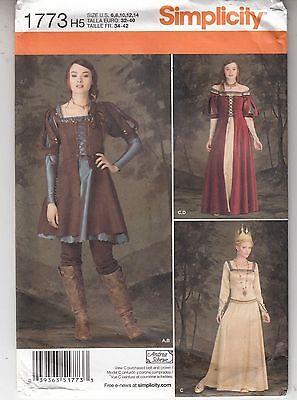 Queen Princess Knight Medievel Costumes Overdress Simplicity 1773 Sz 6-14 Uncut
