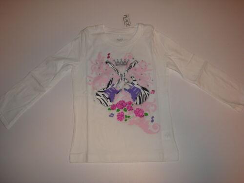 Children/'s Place Glittery Long Sleeve Tee Shirt ~ Zebra Guitars ~ Size M 7-8