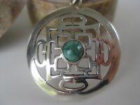 Turquoise Silver Pendant Tibetan Buddhism Sterling Mandala
